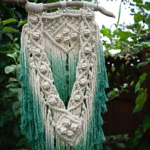 Handmade and hand dyed macrame wall hanging